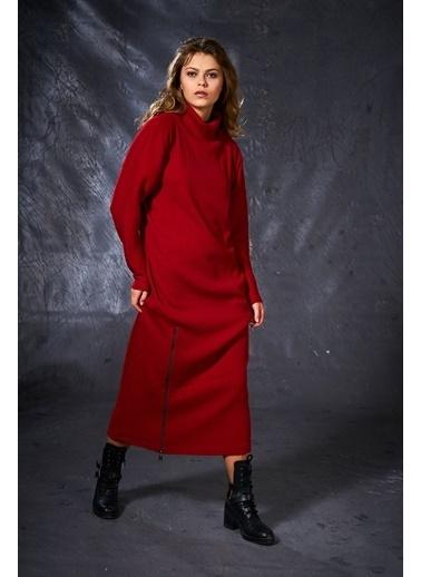 Eda Atalay Fermuar Detaylı Triko Elbise Kırmızı